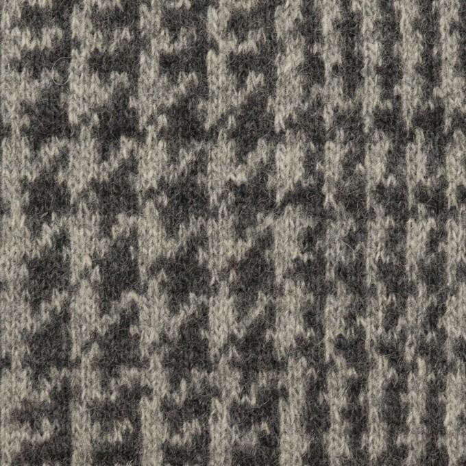 ウール&アクリル混×チェック(グレー&チャコールグレー)×Wニット イメージ1