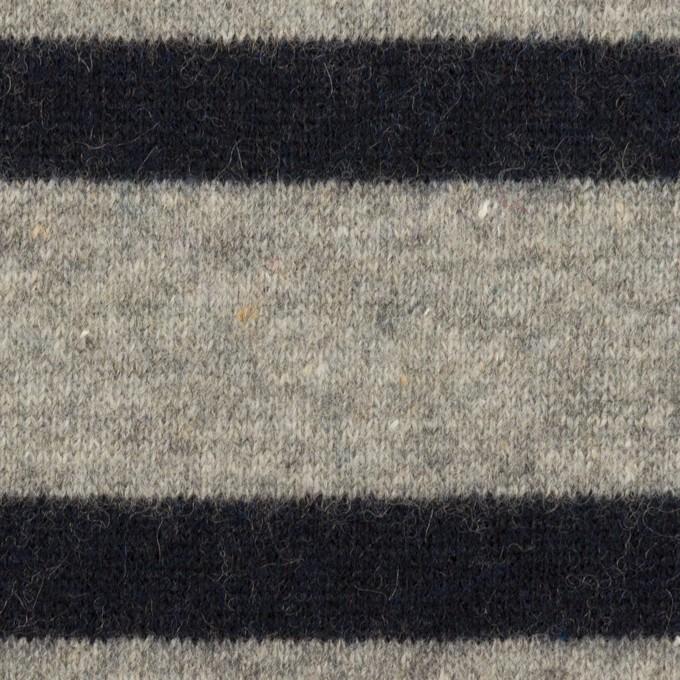 ウール&ポリエステル×ボーダー(グレー&ダークネイビー)×天竺ニット イメージ1