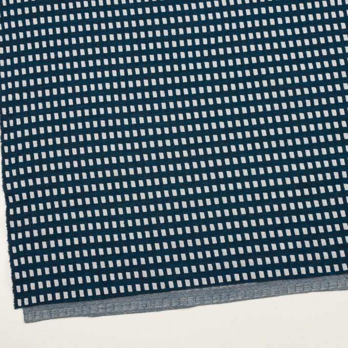 ウール&ポリエステル混×スクエア(ネイビー&ライトグレー)×Wニット イメージ2