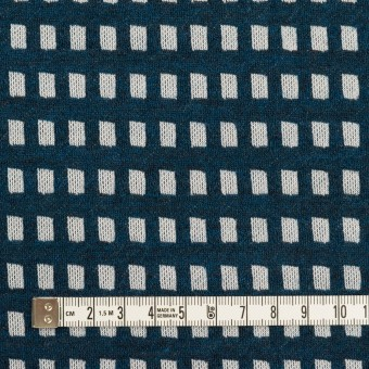 ウール&ポリエステル混×スクエア(ネイビー&ライトグレー)×Wニット サムネイル4