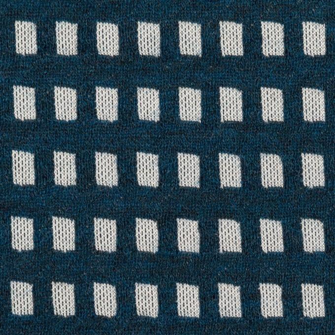 ウール&ポリエステル混×スクエア(ネイビー&ライトグレー)×Wニット イメージ1