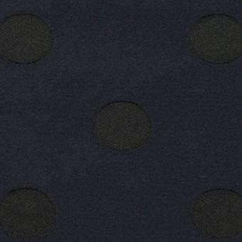 ポリエステル×水玉(ネイビー&ブラック)×形状記憶ジャガード_全2色