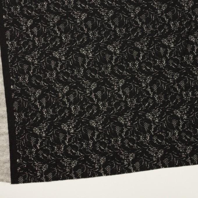 アクリル&ウール混×フラワー(ブラック&グレー)×ラッセルレース&メッシュニット_全2色 イメージ2