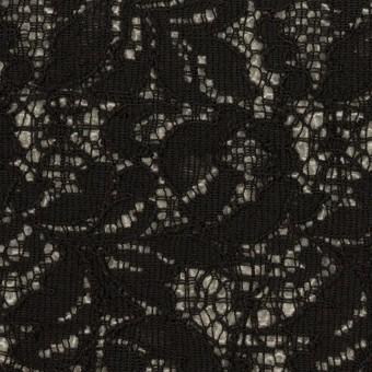 アクリル&ウール混×フラワー(ブラック&グレー)×ラッセルレース&メッシュニット_全2色