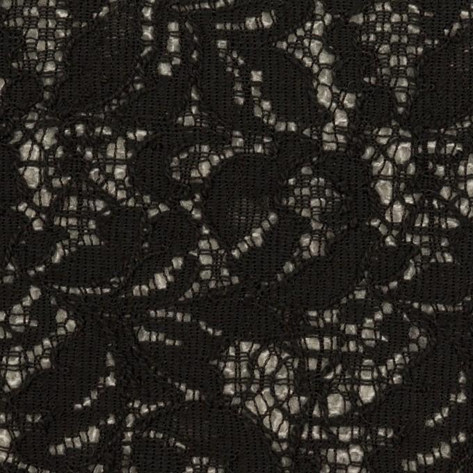 アクリル&ウール混×フラワー(ブラック&グレー)×ラッセルレース&メッシュニット_全2色 イメージ1