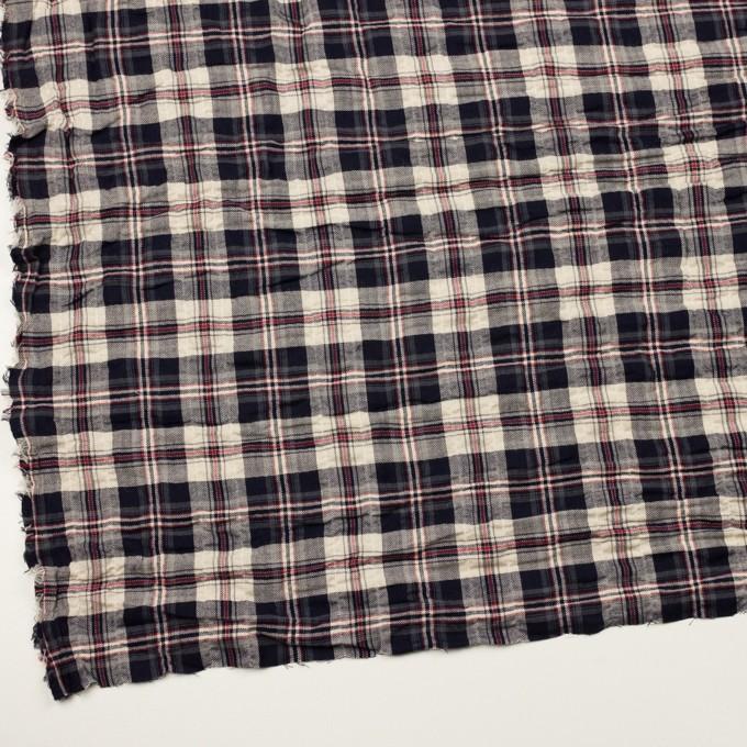 コットン&ポリウレタン×チェック(ネイビー&グレー)×ヘリンボーン・シャーリング イメージ2