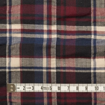 コットン&ポリウレタン×チェック(バーガンディー&プルシアンブルー)×ヘリンボーン・シャーリング サムネイル4