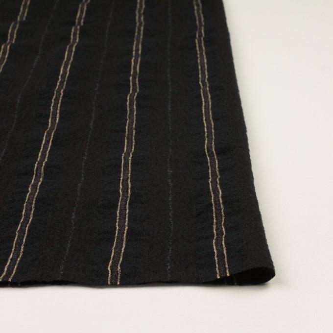 ウール&コットン×ストライプ(ブラック)×ガーゼ_全2色 イメージ3