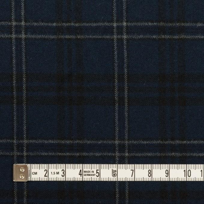 ポリエステル&レーヨン混×チェック(ネイビー&グレー)×サージストレッチ イメージ4