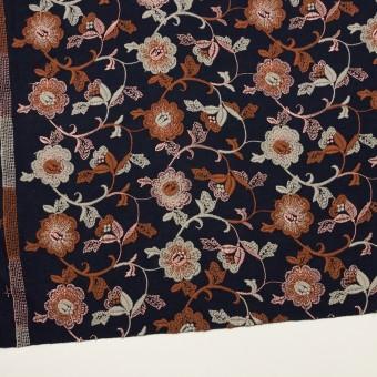 アクリル&ウール混×フラワー(ダークネイビー、レンガ&アトモスグリーン)×スムースニット刺繍 サムネイル2