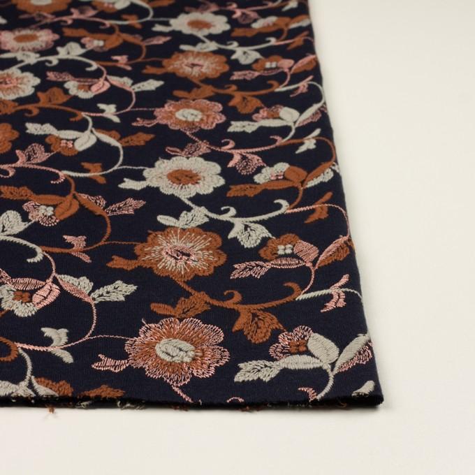 アクリル&ウール混×フラワー(ダークネイビー、レンガ&アトモスグリーン)×スムースニット刺繍 イメージ3