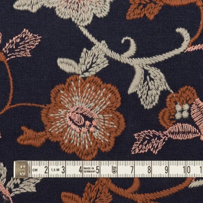 アクリル&ウール混×フラワー(ダークネイビー、レンガ&アトモスグリーン)×スムースニット刺繍 イメージ4