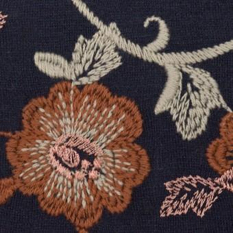アクリル&ウール混×フラワー(ダークネイビー、レンガ&アトモスグリーン)×スムースニット刺繍