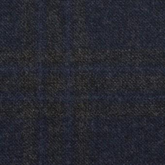 ウール×チェック(プルシアンブルー&チャコールグレー)×ツイード