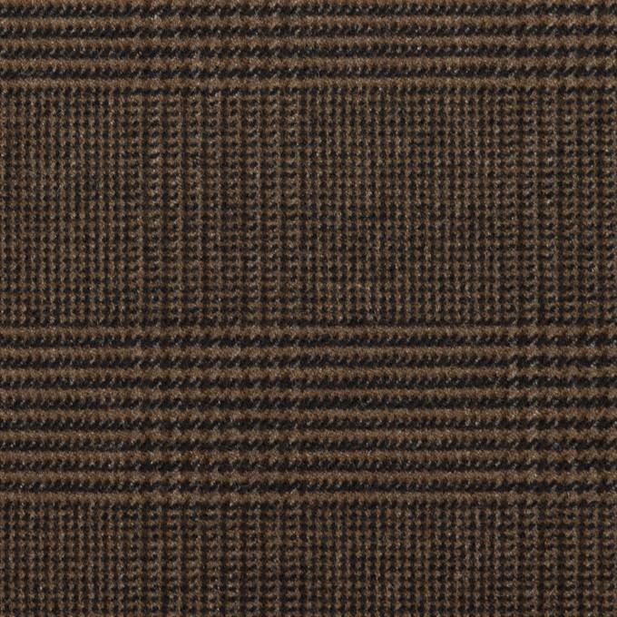 ポリエステル&レーヨン混×チェック(ブラウン)×サージストレッチ イメージ1