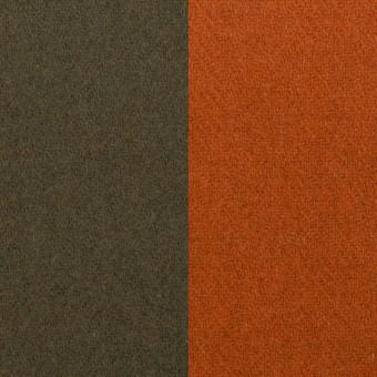 ウール&ナイロン×無地(カーキグリーン&オレンジブリック)×Wフェイスツイード_全2色