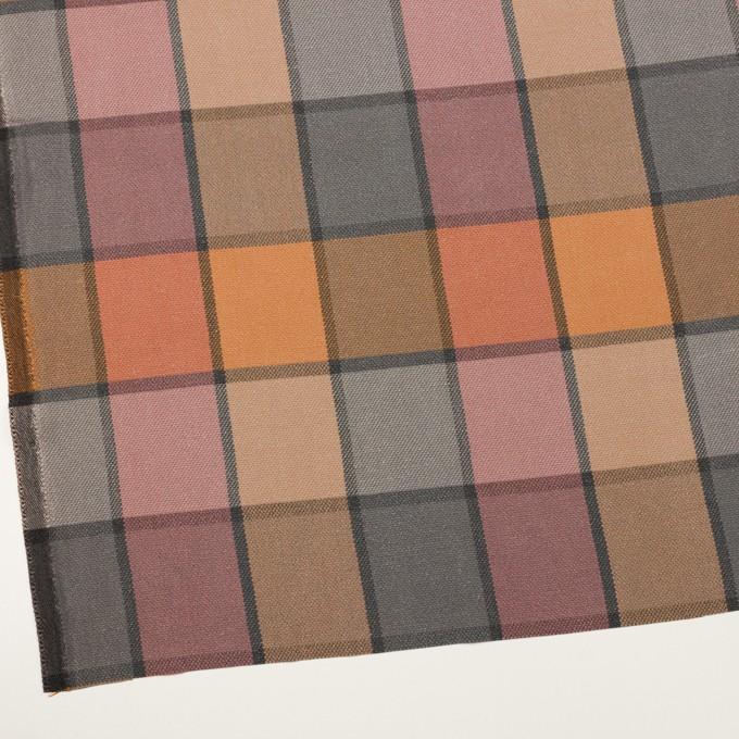 コットン&レーヨン×チェック(テラコッタ)×斜子織_全2色 イメージ2