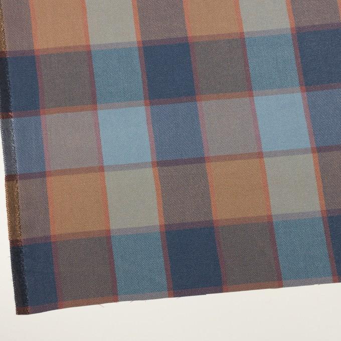 コットン&レーヨン×チェック(ブルーグレー)×斜子織_全2色 イメージ2