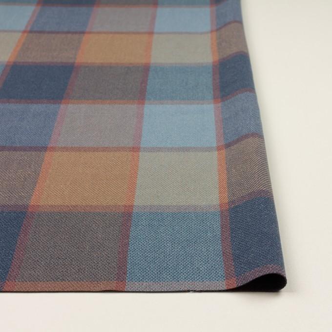 コットン&レーヨン×チェック(ブルーグレー)×斜子織_全2色 イメージ3