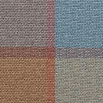 コットン&レーヨン×チェック(ブルーグレー)×斜子織_全2色