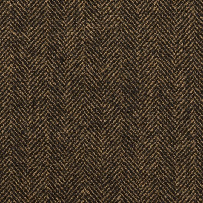 ウール&レーヨン混×ミックス(ダークブラウン)×ヘリンボーン・ストレッチ イメージ1