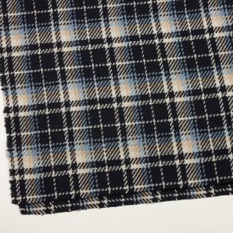 ウール&アクリル混×チェック(ダークネイビー、サックス&ベージュ)×斜子織 サムネイル2