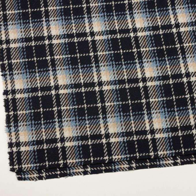 ウール&アクリル混×チェック(ダークネイビー、サックス&ベージュ)×斜子織 イメージ2