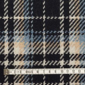 ウール&アクリル混×チェック(ダークネイビー、サックス&ベージュ)×斜子織 サムネイル4