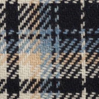 ウール&アクリル混×チェック(ダークネイビー、サックス&ベージュ)×斜子織