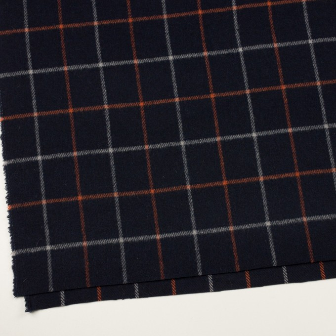 ウール&アクリル×チェック(ダークネイビー、オレンジ&アイボリー)×フラノ(フランネル) イメージ2