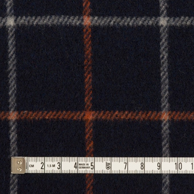 ウール&アクリル×チェック(ダークネイビー、オレンジ&アイボリー)×フラノ(フランネル) イメージ4