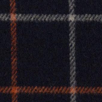 ウール&アクリル×チェック(ダークネイビー、オレンジ&アイボリー)×フラノ(フランネル)