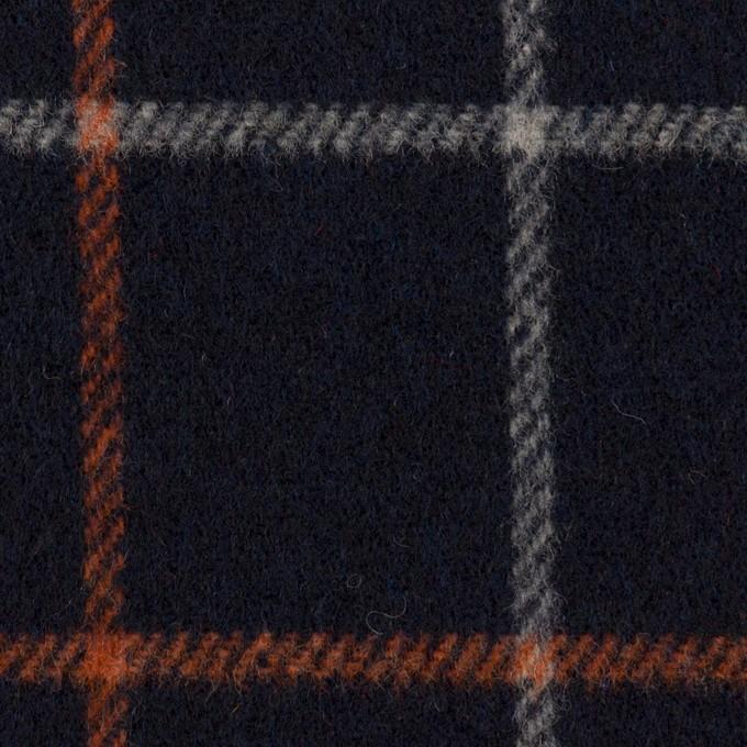 ウール&アクリル×チェック(ダークネイビー、オレンジ&アイボリー)×フラノ(フランネル) イメージ1