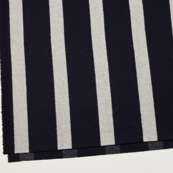 ウール×ストライプ(ダークネイビー&シルバーグレー)×二重織 サムネイル2