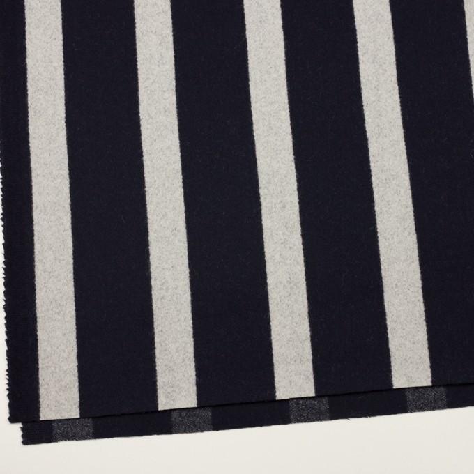 ウール×ストライプ(ダークネイビー&シルバーグレー)×二重織 イメージ2