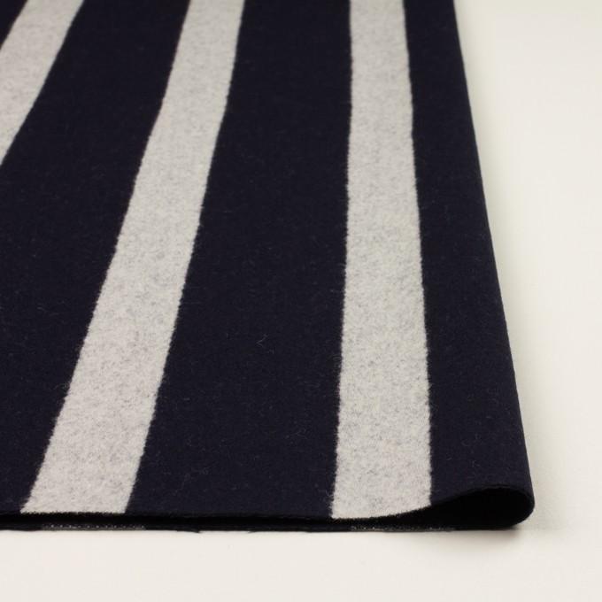 ウール×ストライプ(ダークネイビー&シルバーグレー)×二重織 イメージ3