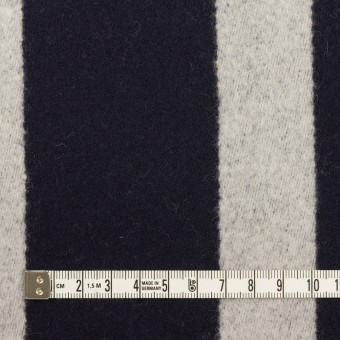 ウール×ストライプ(ダークネイビー&シルバーグレー)×二重織 サムネイル4