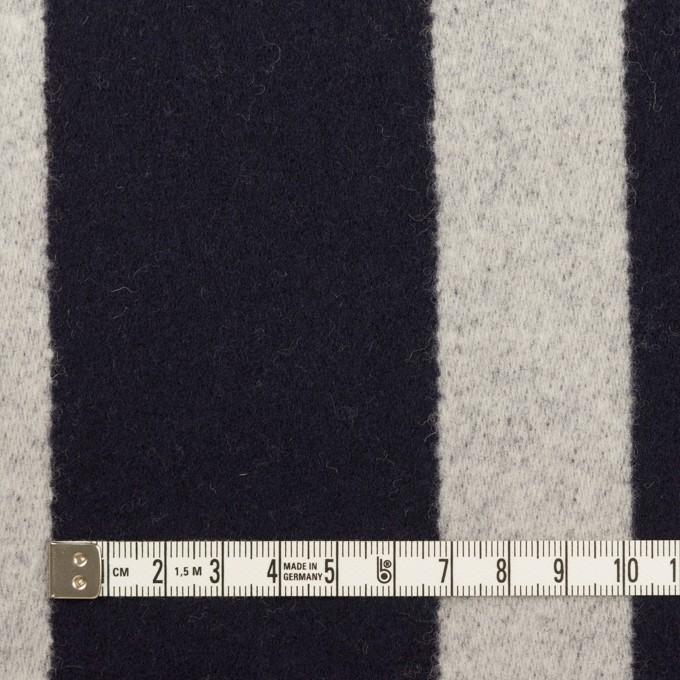 ウール×ストライプ(ダークネイビー&シルバーグレー)×二重織 イメージ4