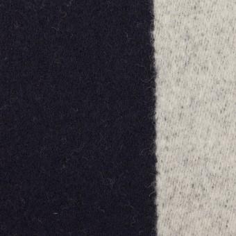 ウール×ストライプ(ダークネイビー&シルバーグレー)×二重織 サムネイル1