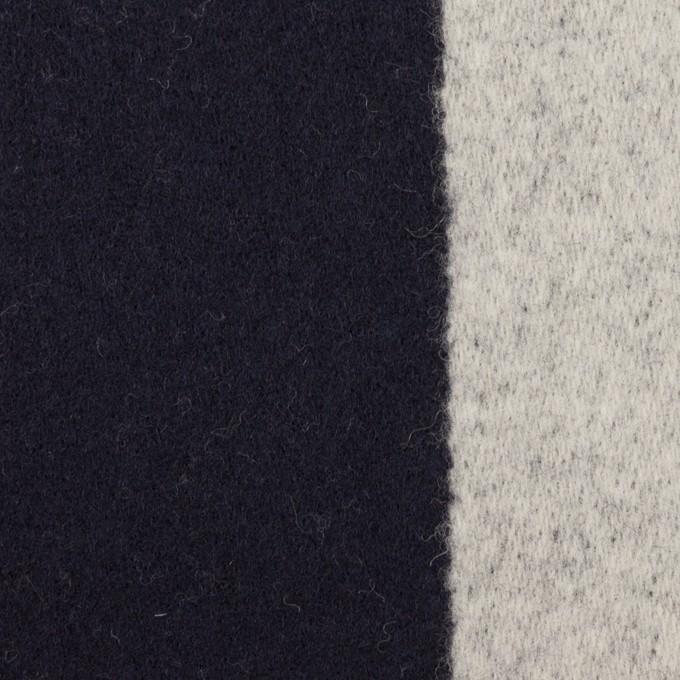ウール×ストライプ(ダークネイビー&シルバーグレー)×二重織 イメージ1