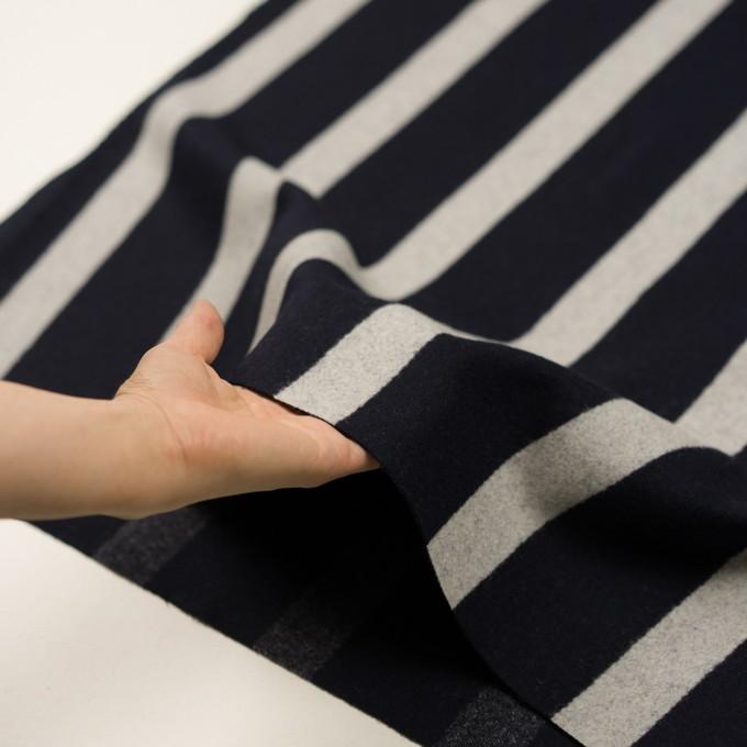 ウール×ストライプ(ダークネイビー&シルバーグレー)×二重織 イメージ5