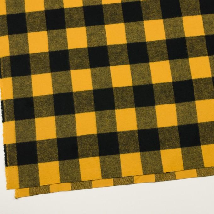 コットン×チェック(サンフラワー&ブラック)×フランネル イメージ2