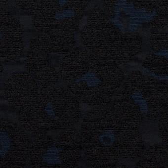 ポリエステル&コットン×レオパード(ダークネイビー)×ジャガード