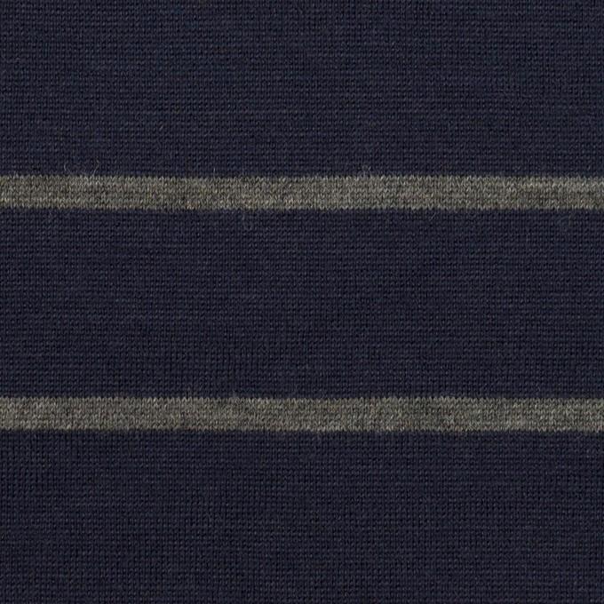 ウール×ボーダー(ネイビー&グレー)×天竺ニット イメージ1