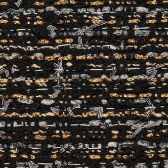 コットン&ポリエステル混×ミックス(ブラック、シルバー&ゴールド)×ファンシーツイード