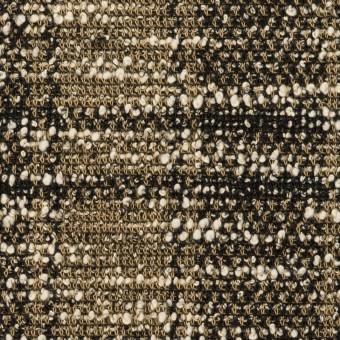 コットン&アクリル混×チェック(カーキ&ブラック)×ジャガードニット_イタリア製