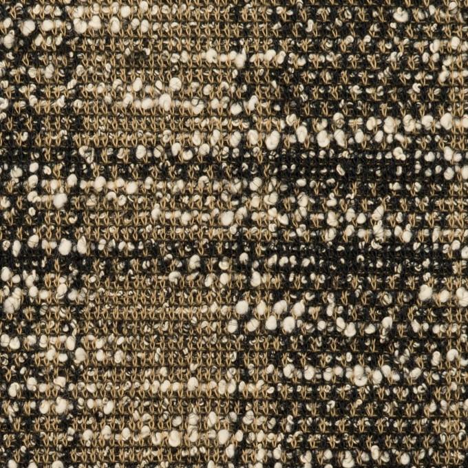 コットン&アクリル混×チェック(カーキ&ブラック)×ジャガードニット_イタリア製 イメージ1