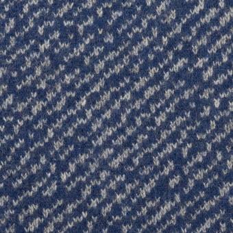 ウール&ポリエステル×ミックス(マリンブルー&グレー)×Wニット サムネイル1