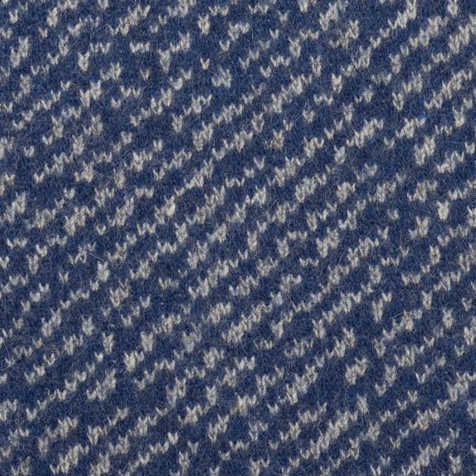 ウール&ポリエステル×ミックス(マリンブルー&グレー)×Wニット イメージ1