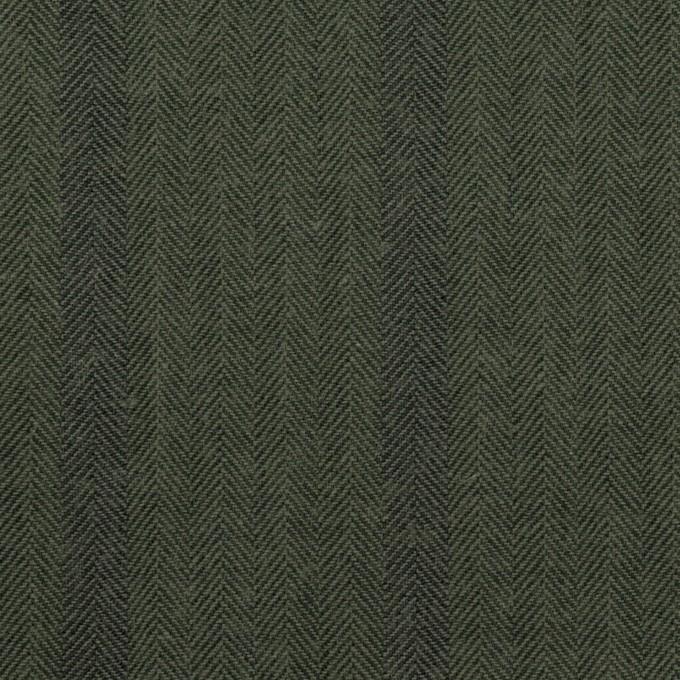 コットン×ストライプ(カーキグリーン)×ヘリンボーン イメージ1